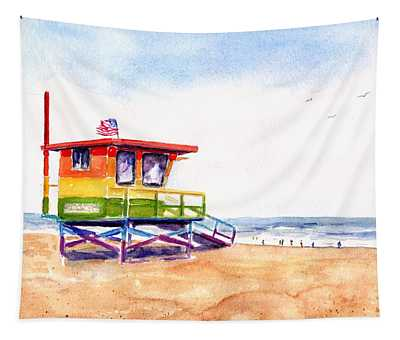 Rainbow Lifeguard Tower Tapestry