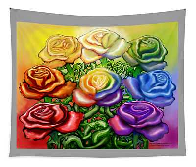 Rainbow Of Roses Tapestry
