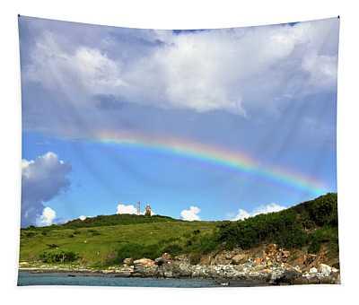 Rainbow Over Buck Island Lighthouse Tapestry
