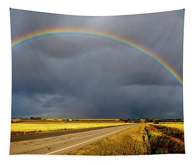 Rainbow Over Crop Land Tapestry