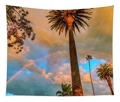 Rainbow Over The Palms Tapestry