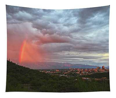 Rainbow Over Tucson Skyline Tapestry