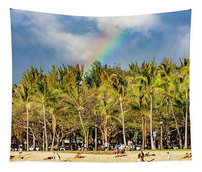 Rainbow Over Waikiki Tapestry