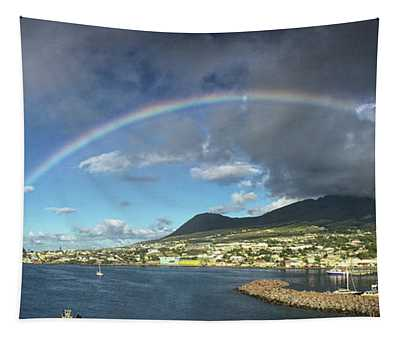 Rainbow Panorama Over Olivees Mountain On St. Kitts Island Tapestry