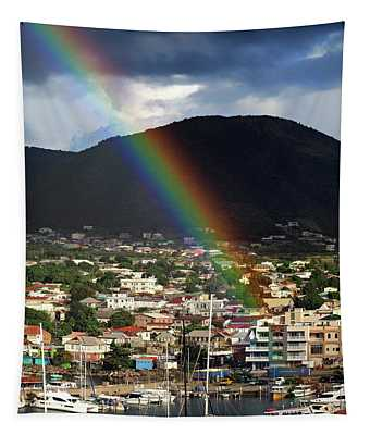 Rainbow Pot Of Gold At Basseterre, St. Kitts Tapestry