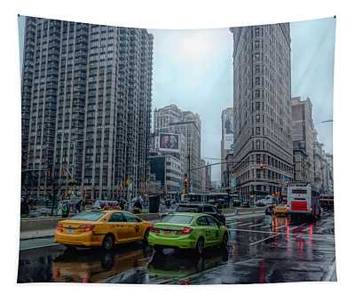 Rainy Day At The Flatiron District Tapestry