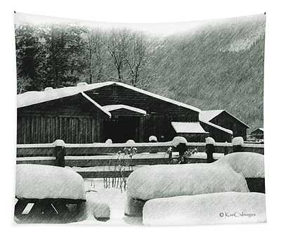 Ranch Buildings And Benches In Snow Tapestry