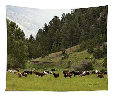Ranch Horses At Pasture Tapestry