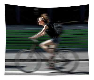 Random Cyclist No 1 Color Blur Version Tapestry