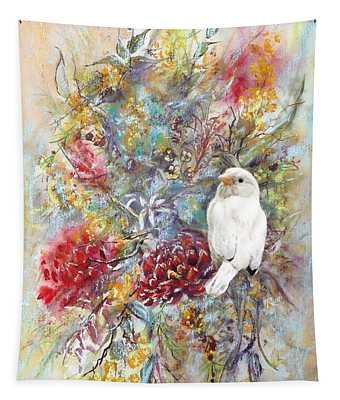 Rare White Sparrow - Portrait View. Tapestry
