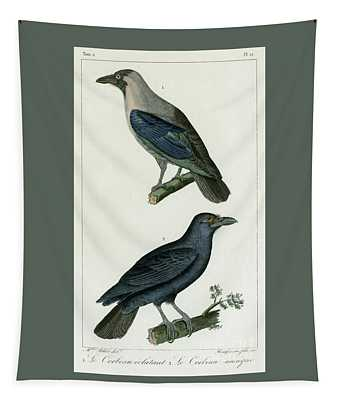 Ravens Or Crows, 1830 Tinted Engraving For Complete Works Of French Naturalist Comte De Buffon - 1 Tapestry