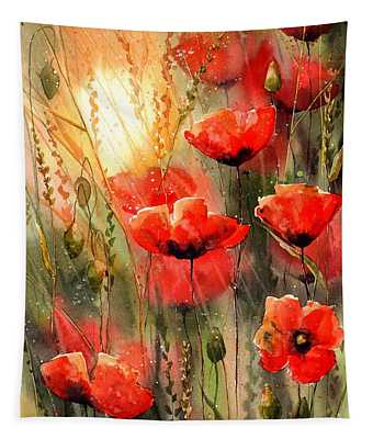 Real Red Poppies Tapestry