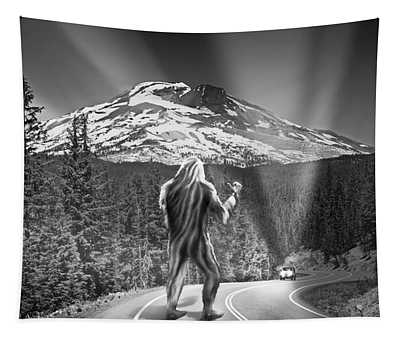 Rear View Of A Sasquatch Hitchhiking Tapestry