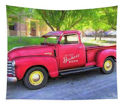 Red 1950 Chevy 3100 Pickup Tapestry