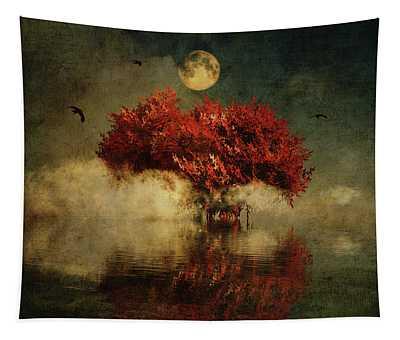 Tapestry featuring the digital art Red American Oak In A Dream by Jan Keteleer