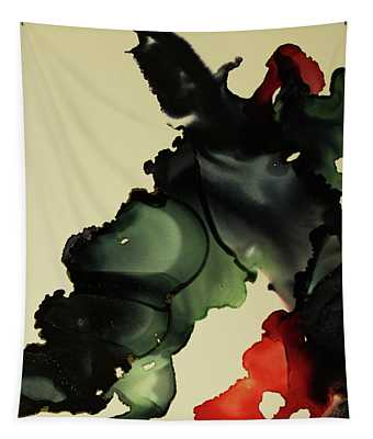 Red And Black Ink Blot I Tapestry