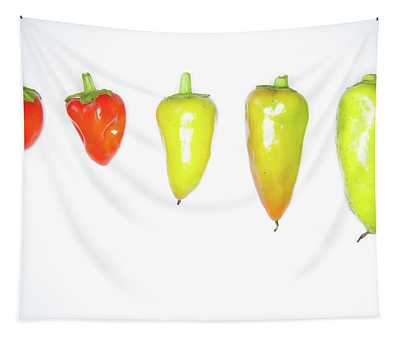 red and Yellow Chilies Lined Up Tapestry