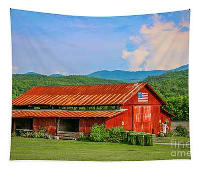 Red Barn And Blue Sky Tapestry