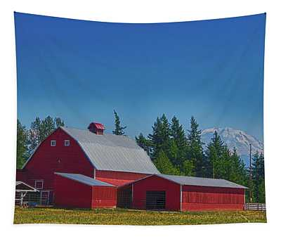 Red Barn With Mount Rainier Tapestry