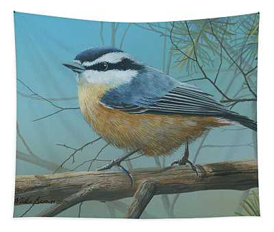 Red Brested Nuthatch Tapestry