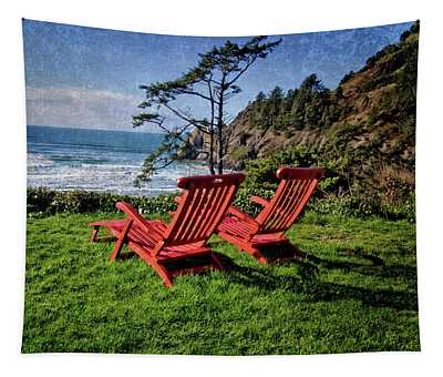 Red Chairs At Agate Beach Tapestry