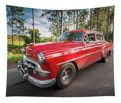 Red Classic Cuban Car Tapestry