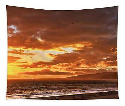 Red Clouds At Sunset Tapestry