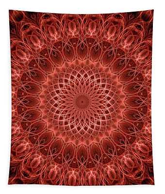 Red Detailed Mandala Tapestry