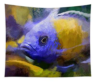 Red Fin Borleyi Cichlid Artwork Tapestry