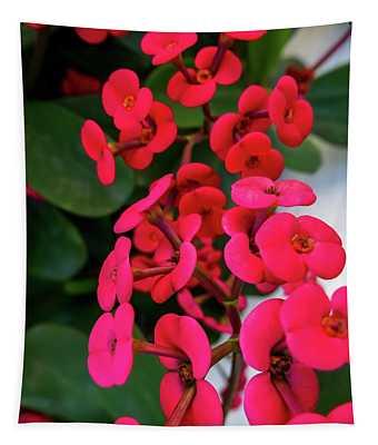 Red Flowers In Bloom Tapestry