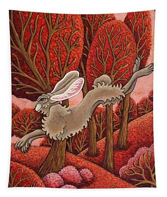 Red Forest Run Tapestry