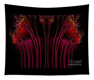 Red Fuchsia And Gold Fireworks Fractal Abstract Tapestry