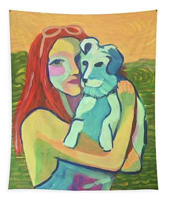 Red Haired Girl With Dog Tapestry