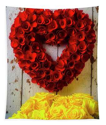 Red Heart Wreath And Yellow Roses Tapestry