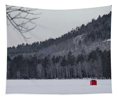 Red Ice Fishing Shack Tapestry