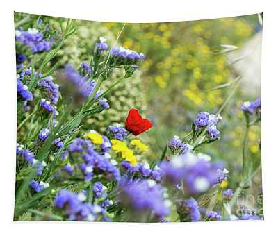Red In Blue Field Tapestry