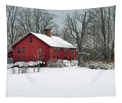 Red New England Colonial In Winter Tapestry