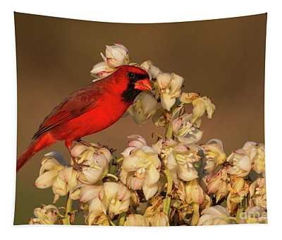 Red On White Tapestry