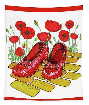 Red Poppies Field And Ruby Slippers Wizard Of Oz Tapestry