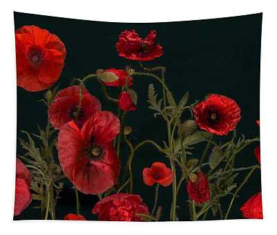 Red Poppies On Black Tapestry