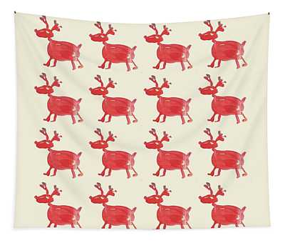 Tapestry featuring the painting Red Reindeer Pattern by Maria Langgle