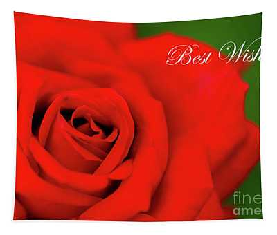 Red Rose Best Wishes Tapestry