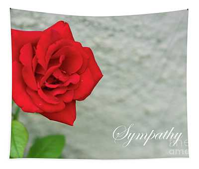 Red Rose On Stone Sympathy Tapestry
