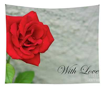 Red Rose On Stone With Love Tapestry