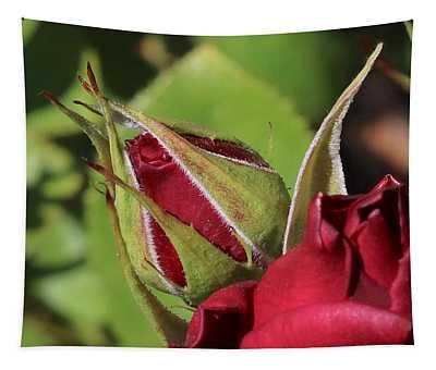 Red Rosebud Tapestry