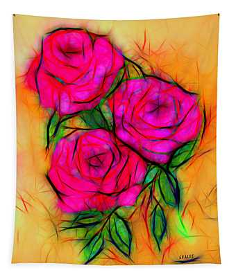 Red Roses By Evalee Tapestry