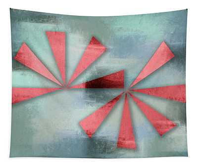 Red Triangles On Blue Grey Backdrop Tapestry