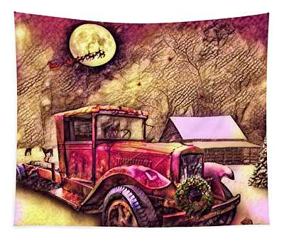 Red Truck On Christmas Eve Reds And Golds Tapestry