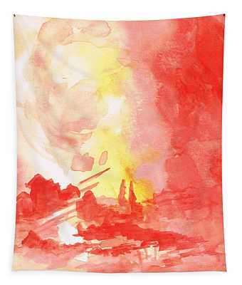 Red Village Abstract 1 Tapestry