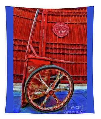 Red Wagon Red Wall  Tapestry